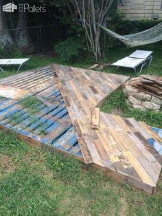 Patio Deck Out Of 25 Wooden Pallets Pallet Flooring Pallet Terraces & Pallet Patios