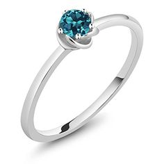 Gem Stone King 10K White Gold 0.20 Ct Round London Blue Topaz Solitaire Engagement Ring