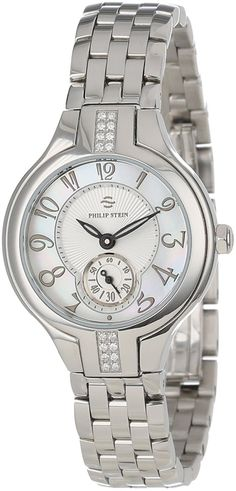 Philip Stein Women's 44SD-FMOP-SS5 Stainless Steel Watch with Diamond Studding and Link Bracelet *** Details can be found by clicking on the image.
