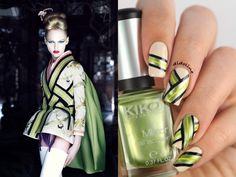 Dior Inspired Green And White Colorblock Nails