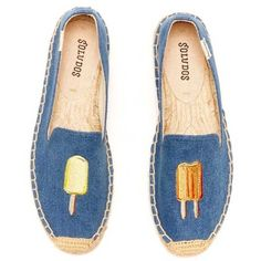 edc086937fc4 Soludos Smoking Slipper Embroidery Popsicles Denim Blue (290 ILS) ❤ liked  on Polyvore featuring