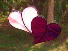 Whimsical Iridescent Pink and Purple Stained Glass Double Heart Sun Catcher VALENTINES