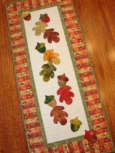 Autumn Fall Quilted Wall Hanging or Table Runner with Oak Leaves and Acorns