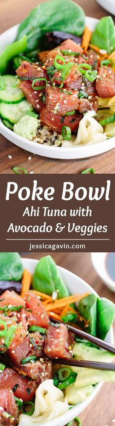 Ahi Tuna Poke Bowl - This Japanese recipe is loaded with healthy brown rice, salad, vegetables and topped with marinated tuna poke. | jessicagavin.com