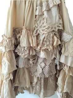 Shabby Chic Outfits, Ropa Shabby Chic, Boho Chic, Shabby Chic Dress, Antique Lace, Vintage Lace, Vintage Crochet, Crochet Lace, Vintage Country