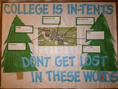 Camping themed reslife Bulletin board This would be perfect for September if you have a lot of first-year residents!