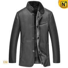 Handsome black sheepskin jacket coat for men on sale, classic smooth Napa finish leather sheepskin jacket with thick shearling sheepskin lining and fully lamb fur trimmed placket, hem and cuffs! Men's Coats And Jackets, Line Jackets, Mens Shearling Jacket, Best Winter Jackets, Best Leather Jackets, Sheepskin Jacket, Cool Coats, Mantel, Casual