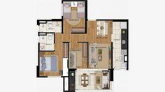 Planta do apto de 80 m² com 3 dorms (1 suite)