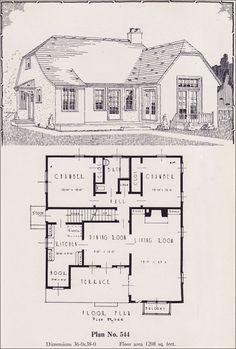 1926 Portland Home Plan by Universal House Plans - No. 544  We envision this little European Revival style cottage behind a tall green hedge in a garden setting. The living room is fairly large with lots of light and easy access to the front terrace. The dining room opens to the terrace too, so al fresco dining looks pretty darned convenient. We'd want just a bit more room for the nook though.
