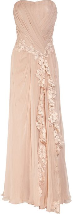 alberta ferretti blush. lace applique silk gown