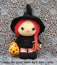 Free Amigurumi Witch crochet pattern for Halloween ~ Amigurumi crochet patterns ~ K and J Dolls