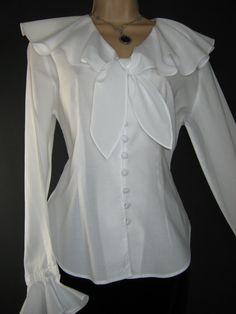 LAURA ASHLEY Vintage White Buccaneer Romance Blouse, UK 12