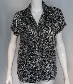 SOLD!! Essentials Milano Black Crinkle Womens Large Black Silver Blouse Cap Sleeve  #EssentialsbyMilano #Blouse #Casual