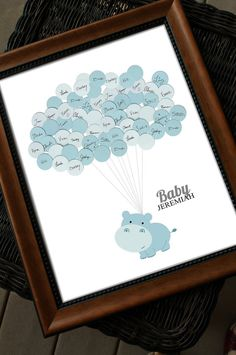 Baby Shower Guestbook - Hippo with Balloons BLUE