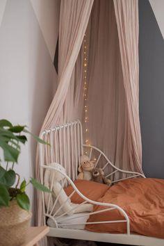 Ikea Girls Room, Girls Bedroom, Kids Room, Ikea Minnen Bed, Ikea Bed, Kitchen Ikea, Modern Kids Bedroom, Bed Tent, Living Room Green