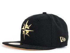 Custom NEW ERA x MLB 「Seattle Mariners Black Gold」59Fifty Fitted Baseball Cap