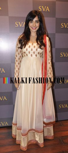 Neha Sharma attended the SVA Signature Studio launch in one of its cream anarkali outfit. http://www.kalkifashion.com/