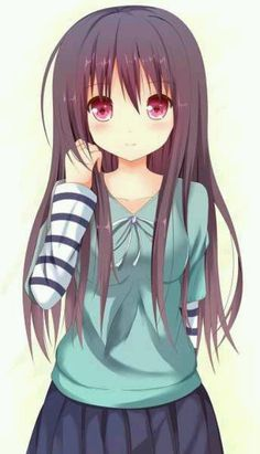 Anime girl brown hair purple eyes teal green blue shirt striped sleeve blue pleated skirt (her eyes!!)