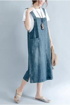 2018 Summer Blue Denim Suspender Skirt Women Clothes - FantasyLinen Source by smerekj clothes hijab Casual Outfits, Summer Outfits, Fashion Outfits, Womens Fashion, Look Retro, Suspender Skirt, Apron Dress, Lookbook, Blue Denim