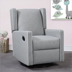 Dorel Monbebe Everston Swivel Reclining Glider in Gray $600 lussobaby.ca