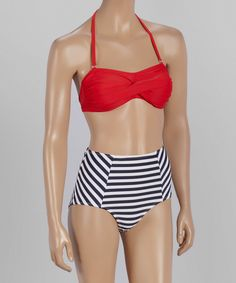Look what I found on #zulily! Navy Stripe High-Waist Bikini - Women by Marina West #zulilyfinds