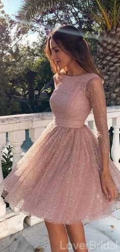 Long Sleeves Dusty Pink Sparkly Short Cheap Homecoming Dresses Online, – LoverBridal Homecoming Dresses Long, Dresses Short, Short Mini Dress, Simple Dresses, Sexy Dresses, Evening Dresses, Elegant Dresses, Summer Dresses, Formal Dresses