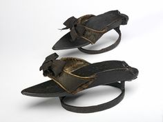 1720s-1730s, Great Britain - Pair of pattens - Wooden sole, iron ring, and leather latchet fastenings covered with velvet
