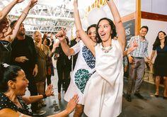 dance party jewelry cute party love white dresses   Jen + Kat   Los Angeles Stylish Same Sex Wedding   Jenn Emerling Weddings