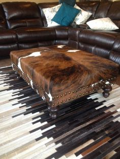 Custom Cowhide Ottoman Coffee Table Bench with Nail Head Trim Cowhide Furniture, Cowhide Ottoman, Western Furniture, Rustic Furniture, Cool Furniture, Cowhide Decor, Cabin Furniture, Furniture Design, Outdoor Furniture