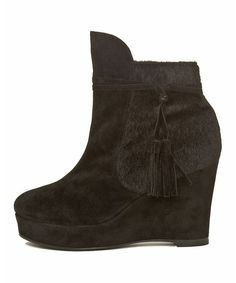 Take a look at this Black Brynn Wedge Bootie by Cri de Coeur on #zulily today!