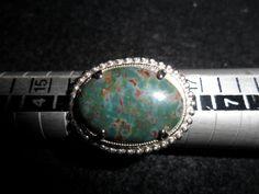 #R115 Bloodstone Fashion Ring silver tone, size 5 $17.00 USD