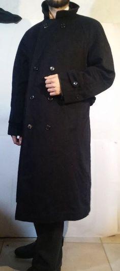 Adler Loden Vintage Wool Blend Dark Blue Long Trench Coat Size L #Adler #Trench #Fashion #Ebay