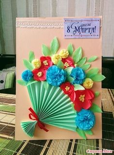 Mothersday Cards Kindergarten Art Mothers Day Crafts Cute Crafts Flower Making Diy For Kids Crafts For Kids Creative Cards Craft Gifts Paper Flowers Craft, Paper Crafts For Kids, Preschool Crafts, Art N Craft, Mothers Day Crafts, Handmade Birthday Cards, Spring Crafts, Flower Cards, Homemade Cards