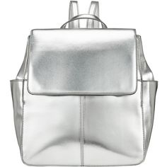 Kin by John Lewis Gia Backpack , Silver found on Polyvore featuring bags, backpacks, silver, fake bags, silver bag, rucksack bag, flap bag and white backpack