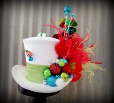 Christmas Mulit Color Holiday Mini Top Hat Alice in by ChikiBird