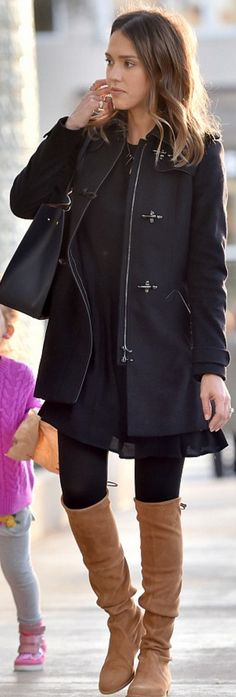 Who made  Jessica Alba's black coat, tote handbag, and brown suede thigh high boots?