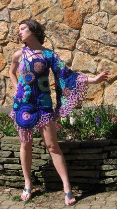 Purple Haze crochet one shoulder bell sleeved by TranscendentBird, $675.00