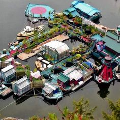 While not exactly one small space, this floating property is amazing off-the-grid living in Freedom Cove, British Columbia.