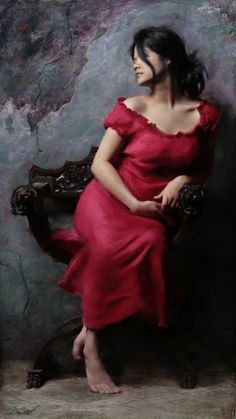 """Casey Baugh, figurative painting, """"Vintage Chair"""" 36x60 oil on canvas, woman in red dress"""