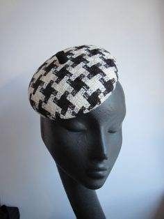 Womens Cocktail Hat  Mini-Beret  Black and White by MindYourBonce, £53.00