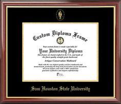 sam houston state university diploma frame embossed seal mahogany gold trim - Diploma Frames Walmart