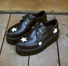 double happiness Star creepers  Posted to the Stufflicious.com community storefront by happinessx2. Buy it directly from storenvy.com for $50 today. #Heels #Wedges #Shoes #Womens #Apparel #Fashion #Style #Cute #Style