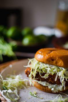 Crispy fish sandwich with a charred jalapeño-lime sauce on a buttery brioche bun! Sandwich Recipes, Fish Recipes, Seafood Recipes, Cooking Recipes, Cooking Fish, Cooking Salmon, Jalapeno Recipes, Cabbage Recipes, Drink Recipes