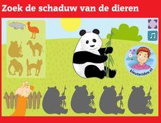 Zoek de schaduw van de dieren met kleuters op digibord of computer op kleuteridee,  Kindergarten, educative shadow games for IBW or computer