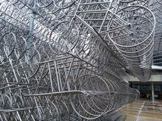 Forever Bicycles, Ai Weiwei's massive sculpture, assembled in Nathan Phillips Square for the Nuit Blanche. 21st Century, Bicycles, Toronto, Tower, Sculpture, City, Travel, Voyage, Lathe