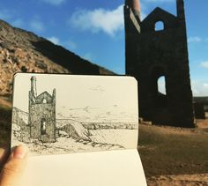 Doing what I love, where I love! Sketching on location at Wheal Coates, a Cornish tin mine engine house. @pierrotkitty