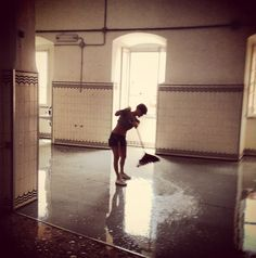 Chiara, our coordination angel, cleaning up at The Hospital