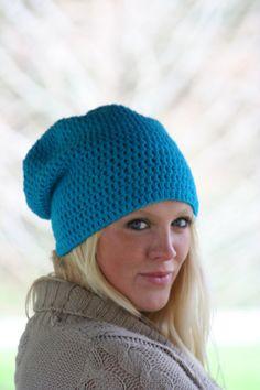 crochet beanie hat slouchy beanie turquoise blue