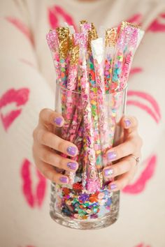Perfect for a low-key surprise party! Create DIY confetti sticks the day before the big party and surprise the honoree.