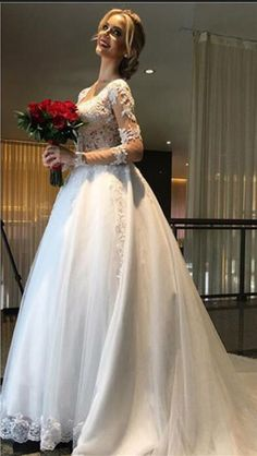 Lace Bridal Ball Gown with Long Sleeve,A Line Beading Wedding Dress,Beautiful Prom Dress,JD 256